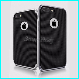 Wholesale Iphone Carbon Fiber Bumper - Stylish Business Design Carbon Fiber Cases For iphone 7 6 plus Hybrid Soft TPU Shell Hard PC Bumper Back Cover For Galaxy S7