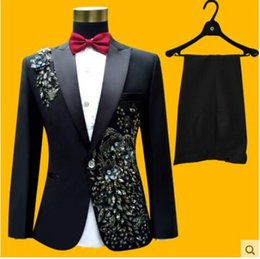 Wholesale Men S Suit Tie - (jacket+pants+tie+belt)male suit groom wedding prom party paillette red black instrument slim costumes blazers flower formal clothes