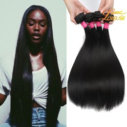 Wholesale wholesale black natural hair products - Longjia Hair Products Brazilian Straight 100% Unprocessed Human Hair Weft Weave Bundles Natural Black Color Hair Extension 8-28 Inch