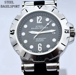 Wholesale Hand Watch Waterproof - New Style STEELBAGELSPORT Top Brand Luxury Men Automatic Mechanical Watch Fashion Male Military Watch Waterproof Silicone Sport Clocks Mens