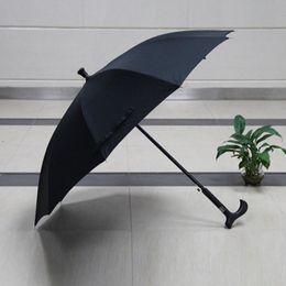 Wholesale Umbrella Anti - Creative Anti-skidding Outdoor Climbing Crutch Walking Stick Umbrellas Windproof Rain Umbrellas 10K Gift For Old ManZA3505