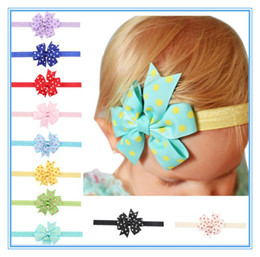 Wholesale Bot Girls - Newborn bot Solid Baby Hair Bows Girl Tiny Bowknot Headband Elastic Hair Band Kids Children Headband Hair Accessories