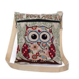 Wholesale Owl Print Handbags - Women cartoon shoulder bags owl embroidery crossbody messenger bags national style lovely handbags wholesale