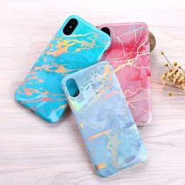 Wholesale Shining Tpu Case - Chrome Marble Texture Case Shining Housing Cover Laser Soft TPU Plated IMD Dazzling Rainbow Shockproof Protective For iPhone X 8 7 Plus 6 6S