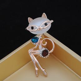 Оптовая ручной работы позолоченный опал cat синий броши горный хрусталь женщины ювелирные изделия булавки для свадебных платьев от