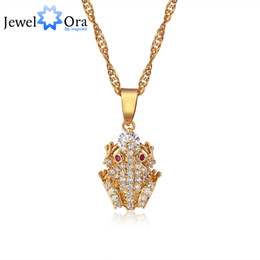 Wholesale Gold Frog Necklace - Fashion Frog Animal Necklaces & Pendants For Women Gold Plated Zircon Pendant Necklace ( NE101159) 17401