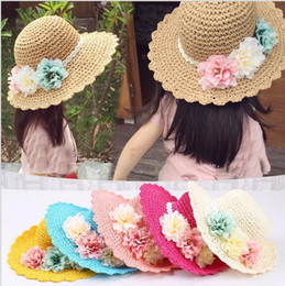 Wholesale Fresh Hats - Summer Headdress New Korean Handmade Flowers Straw Hat Children Sweet Little Fresh Beach Cap Sun Hat 10Pcs Free Shipping M021