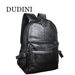 Wholesale Top Korean Backpack - Wholesale- DUDINI Fashion Korean Style Men Backpack Top Quality Leather Double Shoulder Bags School Bag Book Rucksack Male Outstoor Tote