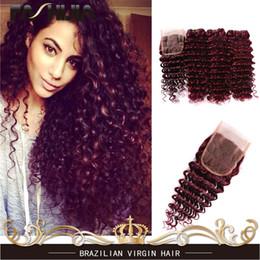 Wholesale Brazilian Ocean Wave Hair - FASHIJIA Burgundy Deep Wave Brazilian Virgin Hair Red Raw Deep Curly Ocean Wave 99j Human Hair Weave Wet And Wavy 3 Bundles With Closure