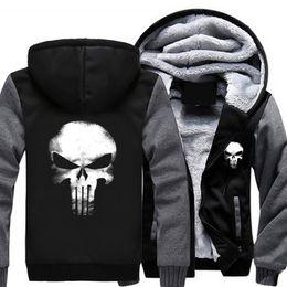 Wholesale Usa Coatings - Wholesale- 2017 USA SIZE Unisex Punisher Skull Casual Hoodies Thicker Coat Jacket Sweatershirts