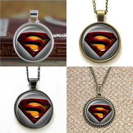 Wholesale Superman Man Steel - 10pcs Superman Super Hero Man of Steel Glass Photo Necklace keyring bookmark cufflink earring bracelet