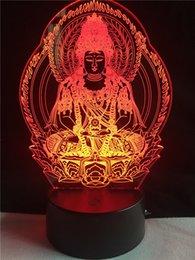 Wholesale Buddha Led Light - Guanyin Buddha 3D Visual LED Night Light Touch USB as Besides Light Baby Sleeping Lamp Children's Nightlight