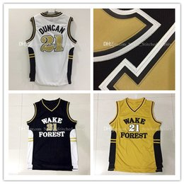 Wholesale Wake Forest Demon Deacons Tim Duncan Basketball Jerseys Men Rev Tim Duncan Jersey White Gold Black Embroidery Logos
