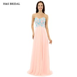 Wholesale Women S Dresses Size 12 - H&S BRIDAL Strapless Women Summer Chiffon Prom Evening Dresses Blue Appliques Light Pink Long Formal Evening Gowns LG0250