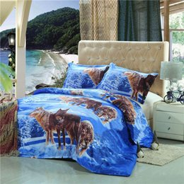Wholesale Full Fashion Bedding Set - Wholesale-Fashion Wolves Printed 3D Suit Bedding Set Polyester Animal Pattern Sheet Pillowcase Duvet Cover Bedclothes Bed Supplies 2 Size