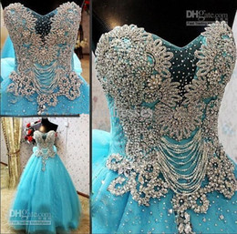 Wholesale Dress Crystal Colour - Real Image Strapless Luxury Crystals Blue Colour Cathedral Train Prom Dresses Luxury Arabic Dubai Formal Girls Pageant Dress
