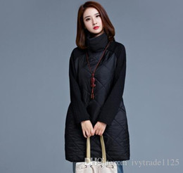 Wholesale Ladies Long Red Dress Coats - NEW fashion Euro fstyle women long sleeve turtle neck patchwork dress lady casual elegant winter warm dress coat free shipping 3 colors