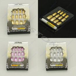 Wholesale 3d Pre Design Nails - Wholesale- 12PCS 3D Pre-design French Acrylic False Nail Tips 3 Colors For Choice