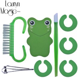 Wholesale Art Scissors - Wholesale- 8Pcs 1Set Cute frog Manicure Set Nail Art Tools Nail Scissors File Professional Pedicure Nail Kit
