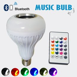 Wholesale E27 Led Dhl - Wireless 12W Power E27 LED rgb Bluetooth Speaker Bulb Light Lamp Music Playing & RGBW Lighting with Remote Control by DHL