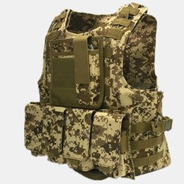 Wholesale Armor Vests - Camouflage Hunting Tactical Vest Wargame Body Molle Armor Hunting Vest CS Outdoor Equipment 6 colors Free Shipping