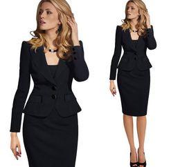 Wholesale Plus Women Business Suit - 2017 hot sale summer office women skirt suits business uniform long sleeve female blazer and skirt plus size work wear set