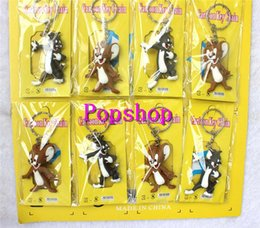 Wholesale Party Mice - 3sets (12pcs set) Tom and Jerry Cat and Mouse PVC 3D Keychains Pendants Keyrings Charms Tag Bags Accessories Kids Party Gifts
