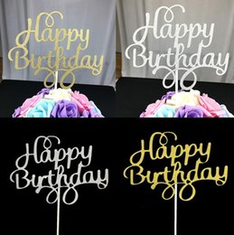 одиночные палочки Скидка Творческий торт Топпер флаг золото серебро с Днем Рождения флаги одной палкой для День рождения торт выпечки поставки