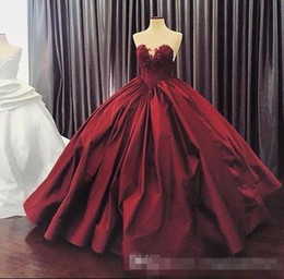 Wholesale Cascade Jackets - 2017 Burgundy Quinceanera Dresses Ball Gown Sweetheart Lace Up Floor Length Masquerade Dresses Satin Appliques Vintage Long Prom Gowns