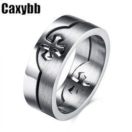 Wholesale Puzzle States - Classic cross removable stainless steel color cross-puzzle ring Europe and the United States domineering man stainless steel ring