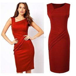 Wholesale Hot Classy Dresses - Hot Update Classic Solid Hidden Back Zipper Draped V-Neck Sleeveless Knee-Length Women Silm Bodycon Classy Dresses FreeShipping q0425