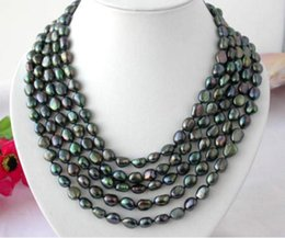 Wholesale Long Pearl Chains - Long 100 Inch 10-11mm Baroque Black Natural Pearl Necklace