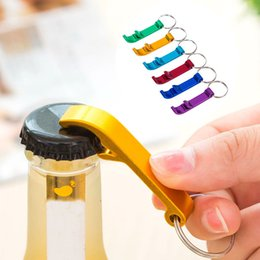 Wholesale Bar Beer Bottle Opener - Creative Stainless Steel Bottle Openers New Portable Keychain Ring Alloy Beer Wine Can Bar Club Waiter Kitchen Tools Seals168 PX-B39