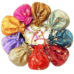 Wholesale Satin Drawstring Favor Bags - Fillet Embroidery Fruit Small Bags for Jewelry Packaging Drawstring Storage Pouch Spice Sachet Satin Candy Gift Bag Wedding Party Favor 3pcs