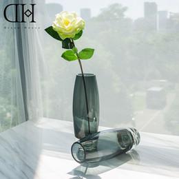 Wholesale Glass Bottle Garden - DH Modern grey glass flower vase Flower bottle for Home Decoration accessories craft crystal marriage vase garden floor vase