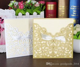 Wholesale Bow Invitation Cards - Lace Ribbon Bow Knot Wedding Invitation Card Vintage Laser Cut Gold Hollow Flowers Blank Inside With Envelope Wedding Invitations Cards b144