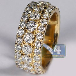 Wholesale Eternity Band Gold Diamond - Mens Diamond Wedding Eternity Band Ring 14K Yellow Gold 7.52 ct 10 mm