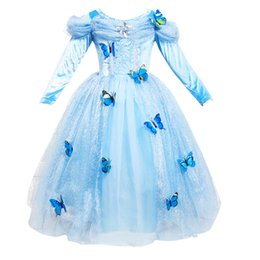 Wholesale Girls Cosplay - Students Christmas gift Girls Cinderella dress Cosplay Elsa princess dresses Long sleeve Butterfly Party birthday gifts Puff sleeve blue