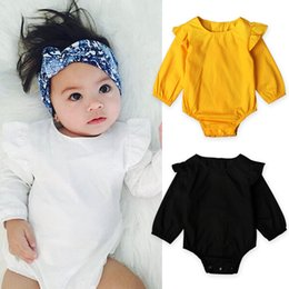 Wholesale Ruffled Diaper - baby bodysuit 2017 New Spring Ruffle Collar Long Sleeve Girls Romper Cute cotton pompon babies boutique diaper suit Infant Onesies 7716