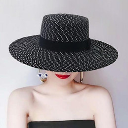 Wholesale Travel Straw Hats - Straw hat Elegant black and white large along the beach hat hat flat ceiling travel Europe and the United States to restore ancient ways to