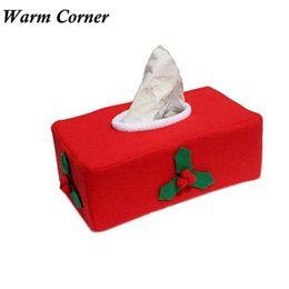 Wholesale Tissue Box Covers Wholesale - Wholesale- Warm Corner LM New Christmas Supply Tissue Box Cover Bags Decoration Hot Home Party Santa Claus Tissue Box Free Shipping Sept 26