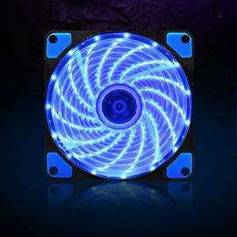 Wholesale Vibration Balls - Wholesale- 120mm PC Computer 16dB Ultra Silent 15 LEDs Case Fan Heatsink Cooler Cooling w  Anti-Vibration Rubber,12CM Fan,12VDC 3P IDE 4pin