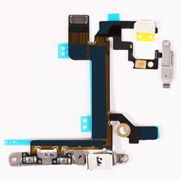 Wholesale Iphone Volume Switch - For iPhone 5S Power Mute Volume Control Button Switch on off Power Flex Cable free shipping