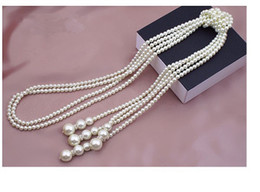 Wholesale White Pearl Long Necklace - White Fashion & Classcial statement layers charms Artificial pearl long necklace chain bijoux necklaces & pendants Long sweater chain