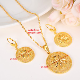 Wholesale Yellow Gold Pendant Circle - New Fashion Ethiopian Jewelry Set Pendant Necklace & Earring Fashion Circle Design 24k Yellow Solid Fine Gold GF