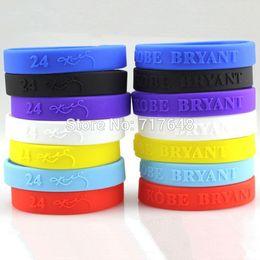 Wholesale Kobe Chain - Wholesale- Kobe Bryant wristband silicone bracelets embossed rubber cuff wrist bands bangle free shipping