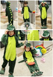 Wholesale Dinosaur Pajamas - Children cartoon pajamas dinosaur home clothing animals autumn and winter baby boys and girls coral flannel children