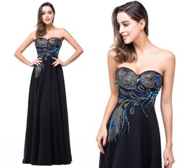 Wholesale Peacock Sequin Dress - 2017 Cheap Black A Line Chiffon Designer Prom Dresses Sweetheart Colorful Sequins Peacock Evening Dresses Formal Party Gowns Celebrity Gowns