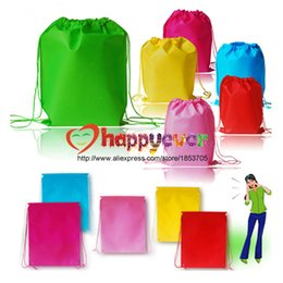 Wholesale Backpack Colorful - Wholesale-6PCS Colorful Non-woven Reusable Kids Backpack Goodie Bag for Kids Boy Girl Birthday Party Favors Supplies Treat Bag
