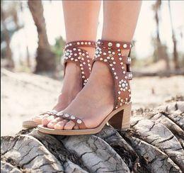 Wholesale wooden buckle - Celebrity Rome Vintage Pumps Casual Shoes Spike Studded Wooden Block Heel Sandels Rivet Crystal Open Toe Gladiator Sandals Women